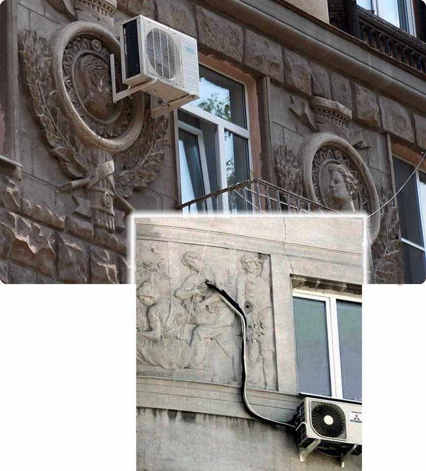 Кондиционеры на барельефах фасадов зданий