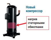 Подогрев компрессора в блоках Mitsubishi Electric CITY MULTI G6 осуществляется статорыми обмотками электродвигателя