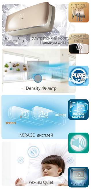 Опции кондиционера Hisense Premium Slim Design Super DC Inverter
