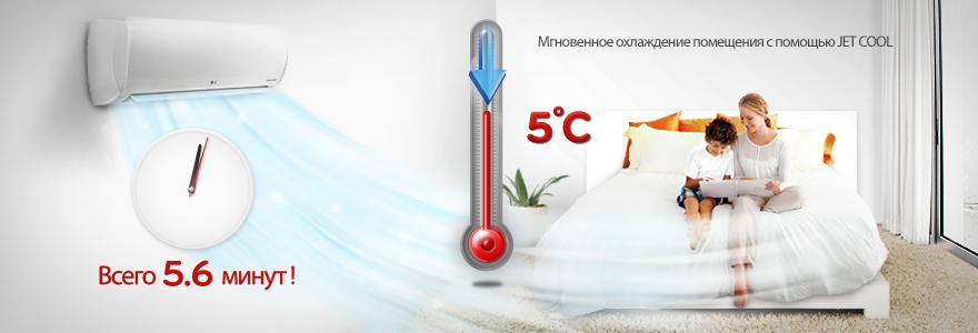 Мгновенное охлаждение воздуха кондиционером LG Standard