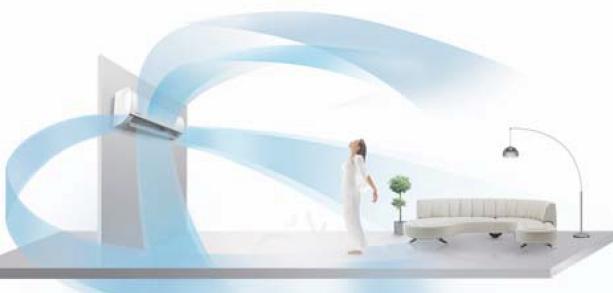 Автоматическая работа воздушных заслонок - возможность автоматического качания вертикальных и горизонтальных за слонок обеспечивает распределение воздушного потока по большей площади