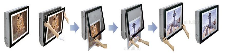 смена изображений на передней панели кондиционера LG A-AW1 Gallery