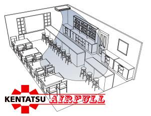 Схема воздухораспределения универсального кондиционера Kentatsu