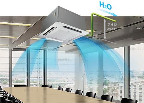 Встроенный дренажный насос Хайсенс, обеспечит подъем конденсата на высоту до 740 мм
