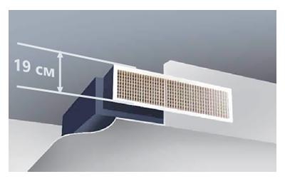 Супертонкий корпус внутреннего канального блока (от 190 мм) расширяет возможности его применения, так как не требует значительного понижения высоты потолка при его размещении